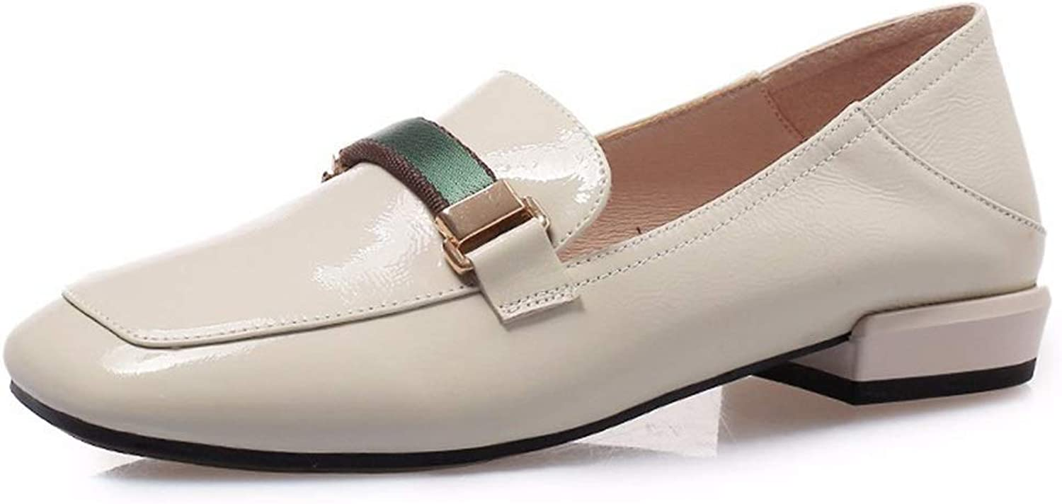 Large Size shoes Small Size shoes Spring and Summer New Small shoes Women's Low Heel Thick with Casual shoes Lok Fu shoes Square Head Driving shoes Tide (color   Beige, Size   35)