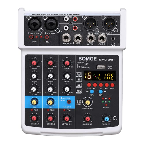 BOMGE -04F 4 Channel Dj Audio Mixer with MP3 / USB Bluetooth, 48V / 16 DSP Stereo / Echo Recording, Suitable for Live Streaming, Karaoke, Performance and Music Production (Black)
