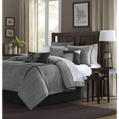 Madison Park Dune Duvet Cover King/Cal King Size - Grey, Pieced Duvet Cover Set – 6 Piece – Faux Suede Light Weight Bed Comforter Covers