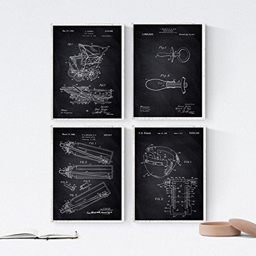 Nacnic Black - Pak van 4 vellen met babyoctrooien. Set posters met uitvindingen en oude patenten. Kies de kleur die je het leukst vindt. Gedrukt op 250 gram papier van hoge kwaliteit