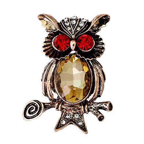 LANTELSHANO Mann Owl Brosche Legierung Mit Anzug Abendkleid Tierbrosche Corsage Valentine Geburtstagsgeschenke Strass Bankett Brosche 1.7 * 1.33In,Gelb