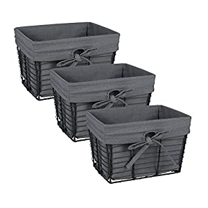 DII Farmhouse Vintage Storage Baskets with Liner, Small S/3, Gray 3 Piece