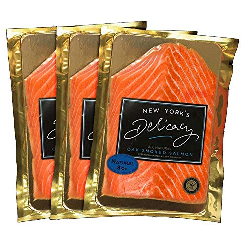 3 x 8 Oz. (1.5 Lb.) New York's Delicacy, Most Awarded, Pre-Sliced, Fully Trimmed, Smoked Salmon Nova. (All Natural)
