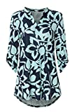 Zattcas Womens Tunic Tops 3/4 Roll Sleeve Notch Neck Casual Blouse Shirts,Slub Fabric Navy-1,XX-Large