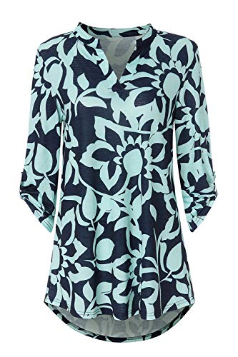 Zattcas Womens Tunic Tops 3/4 Roll Sleeve Notch Neck Casual Blouse Shirts,Slub Fabric Navy-1,Large