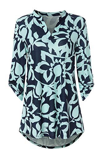 Zattcas Womens Tunic Tops 3/4 Roll Sleeve Notch Neck Casual Blouse Shirts,Slub Fabric Navy-1,Large