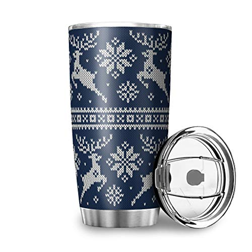 STELULI Stainless Steel Christmas Deer Tumblers Water Bottle Insulated Stain Resistant - Travel Coffee Cup with Closing Lid White 20oz