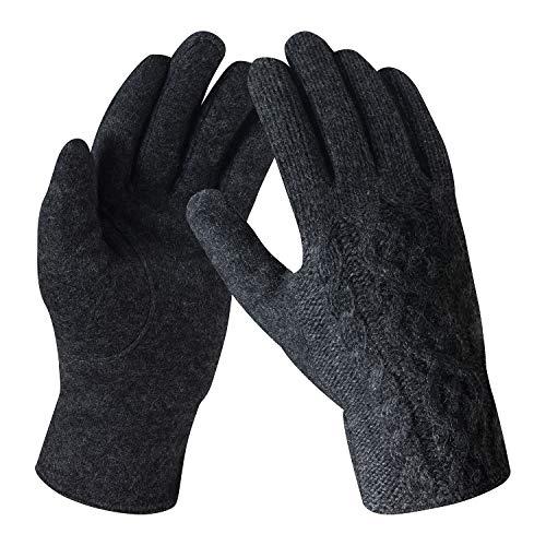 Bequemer Laden Damen Wintersport Handschuhe Dick Fleece Strick Handschuhe Touchscreen Warme Winterhandschuhe für Outdoor Garten mit Warme Fleece Futter & Wolle Haken, Dunkelgrau, Einheitsgröße