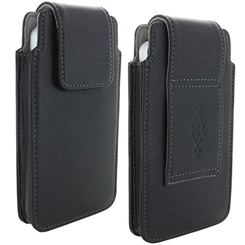 XiRRiX leren mobiele telefoon heuptas voor seniorenhandy smartphone tas geschikt voor Doro Panasonic Emporia Cat Huawei Nokia Samsung Galaxy - zwart