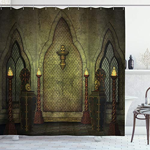 Ambesonne Gothic Shower Curtain, Fantasy Scene with Old Fashioned Wooden Torch and Skull Candlesticks in Dark Spooky Room, Cloth Fabric Bathroom Decor Set with Hooks, 70' Long, Brown