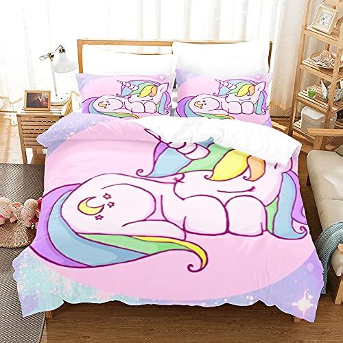 yijia0213 Dibujos animados Anime Unicornio Juego de ropa de cama Conjunto de tres piezas Funda de edredón Duvet Funda para edredón Funda de almohada Cama de doble cama Conjunto completo Juego completo