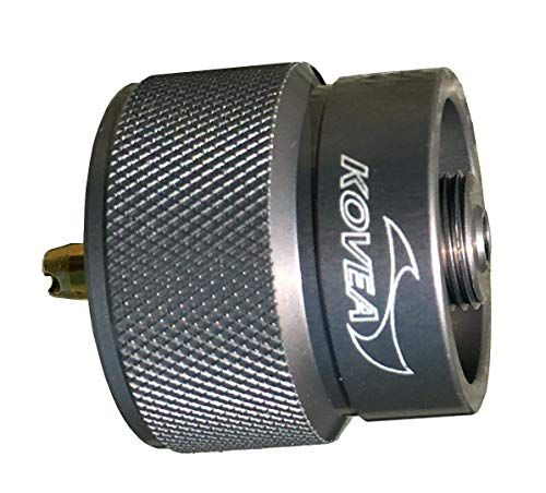 Kovea Lightweight Aluminum LPG Adapter with Lindal Valve Output for use with Small Propane Gas Canisters