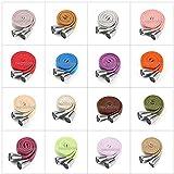 Cordon de serrage plat en coton pour sweat à capuche, 10 et 15 mm de large avec stoppeurs en métal argenté, 1,5 m + 2 boutons ou 3 m + 4 toggles. 26 couleurs, jaune jonquille, 15 mm, 3 m + 4 tog