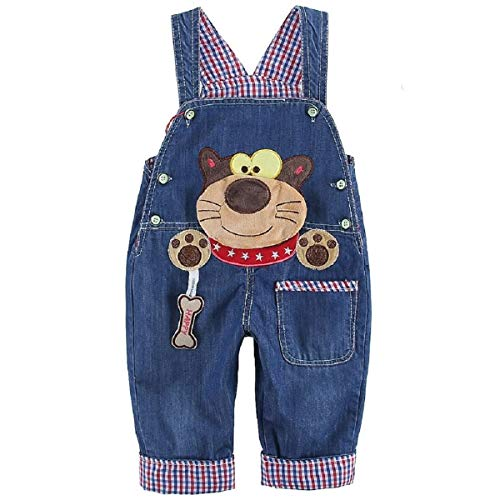 DEBAIJIA Baby Jungen Mädchen Denim Latzhose Kleinkind Hosenträger Jeans Overall Waschbär Herstellergr.90 - Deutsche Gr.86/92