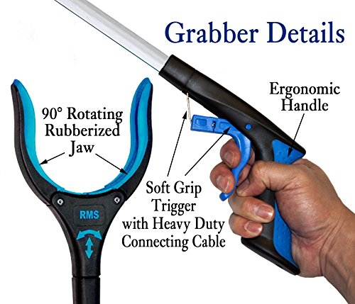 2-Pack 32 Inch Extra Long Grabber Reacher with Rotating Jaw - Mobility Aid Reaching Assist Tool (Blue)
