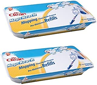Mr. Clean 443870 Magic Reach Mopping Floor/Multipurpose Pads , 2 Packs of 12 refill pads = 24 total pads)