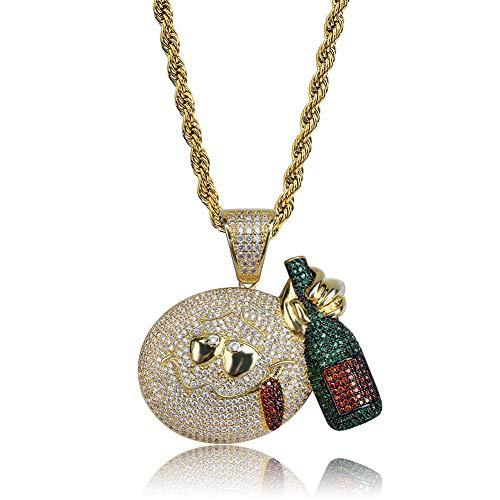 Emoji Ausdruck erhalten Flasche, betrunken Anhänger, europäischen und amerikanischen Hip-Hop, Multi-Color-Micro-Set, Farbe Hipster Halskette, Kette