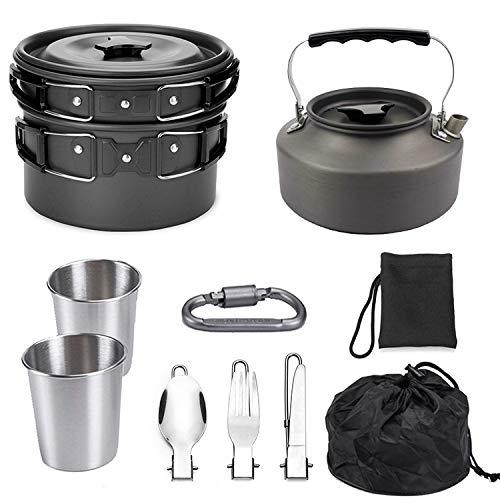 Ichiias Outdoor Camping Pique-nique Barbecue Ensemble de cuisine Batterie de cuisine pour 2-3 personnes