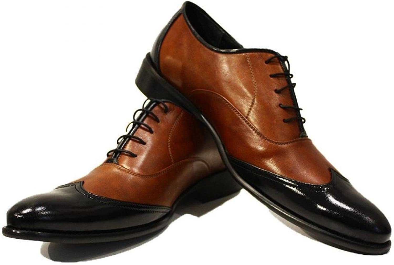 Modello Gaetano - Handmade Italian Leather Mens color Brown Wing Tip Dress shoes Oxfords - Cowhide Smooth Leather - Lace-Up