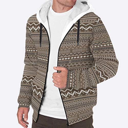 YxueSond Herren Langarm Hoodie Fleece Grafik Geometrisches Muster Dicke Mäntel XL weiß