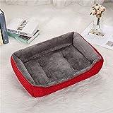 LiYue-Pet Bed Pana Alta elástica Adecuado for Perros Grandes medianos Grandes Sofás Cama Otoño e Invierno Estera cálida Suave Nido de Gato Perrera Suministros for Mascotas (Color : Red, Size : XL)