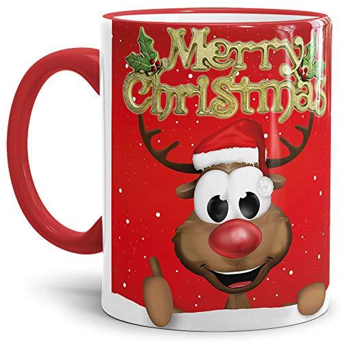 Tassendruck Weihnachtstasse Merry Christmas/Farbtasse Rand und Henkel Rot mit Rentier - Qualität Made in Germany