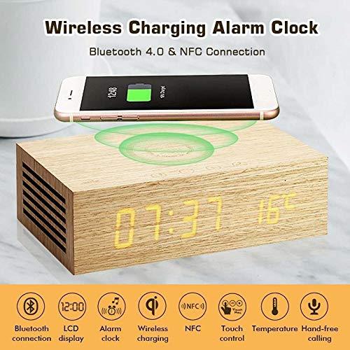 GGreenary Kandelaar Draadloze Opladen Alarm Klok bluetooth Luidspreker met Houten Graan Ontwerp en Heldere LED Display Voor iPhone X HandsFree Oproepen