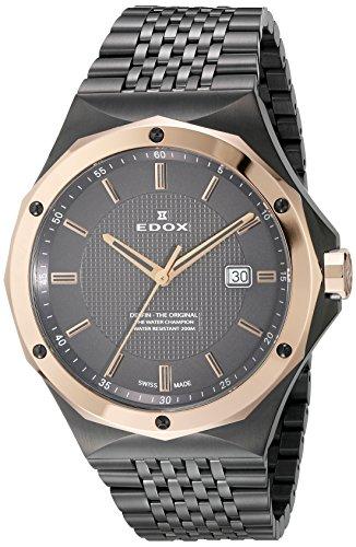 Edox Delfin The Original Herren-Armbanduhr 43mm Armband Edelstahl Grau Schweizer Quarz 53005 37GRM Gir