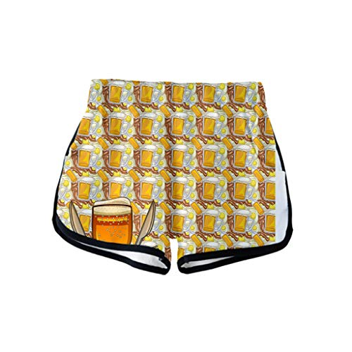 WUSIKY Kurze Hosen Damen Dirndlbluse Oktoberfest Trachtenbluse Ladies'3D Beer Festival Druck Einfach LäSsig Shorts Hosen (Gold, M)