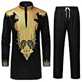 LAXX Men's 2 Piece African Dashiki Shirt, Traditional Tribal Pattern Printed Long Sleeve Pullover Trouser Set Black Gold
