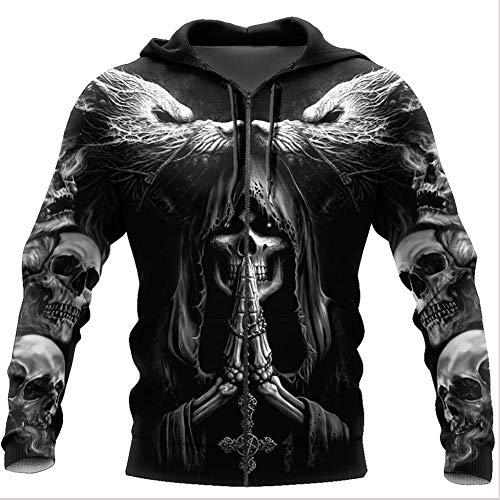 WDBAYXH Men's Viking Skull Fenrir Wolf Tattoo Hoodie Sweatshirt Vintage 3D Print Full Zip Round Neck Casual Jacket Tracksuit, Nordic Celtic Pagan Personality Streetwear,Zip,5XL