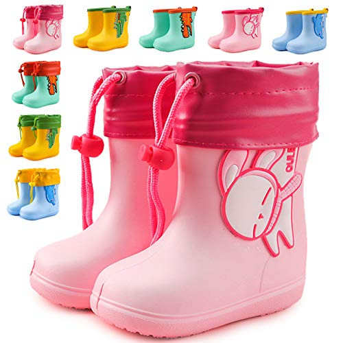 MARITONY Gummistiefel Kinder Mädchen Jungen Regenstiefel Wasserdicht und rutschfest mit Kordelzug Plus Samt Rosa 22-EU