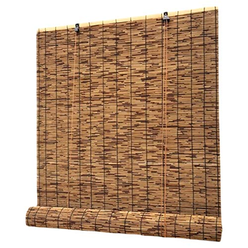 KDDEON Retro Carbonized Reed Curtain,Bamboo Roller Blinds Outdoor Balcony Sunshade Straw Curtain,Hotel Restaurants Wall Decoration Partition Curtain Bamboo Roll Up Window (60x70cm/24x28in)