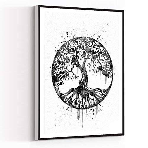 BEDROOM READY TO HANGING,wall decor for living room,Tree of Life Watercolor Print Blue Wall Art Celtic Tree Wedding Gift Yoga Print Gothic Art Wall Decor Housewares Buddha Home Decor,16''x24'' Framed