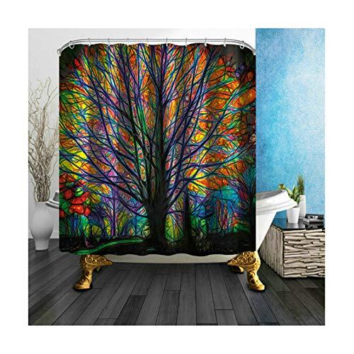 Amody Badewannenvorhang Textil Kreativer Baum Duschvorhang Lustig Anti Schimmel Bunt 180x180CM Waschbare Duschvorhang (Ohne Matte)