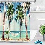 123456789 Cortina de Ducha de baño de Hamaca Tropical de Palm Beach