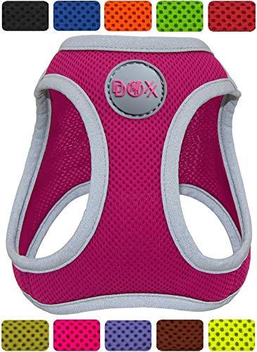 DDOXX Brustgeschirr Air Mesh, Step-In, reflektierend, verstellbar, gepolstert | viele Farben & Größen | für kleine & mittlere Hunde | Hunde-Geschirr Hund Katze Welpe | Katzen-Geschirr | Pink, L