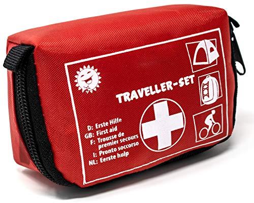 Selldorado® Kit de premiers secours Traveller - 32 pièces - Trousse d'urgence idéale pour l'extérieur, vélo, camping, voyage, sport - Pharmacie domestique - Avec passant de ceinture pratique (1 pièce)