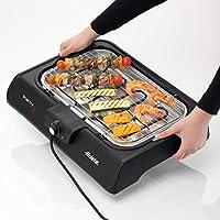 ariete 723 party grill bistecchiera barbecue elettrico da tavolo, termostato regolabile, vassoio raccogligrasso, cottura lenta e rapida, nero
