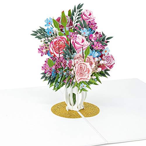 LIMAH® Pop-Up 3D Grußkarte/ PopUp 3D Blumen-Karte zum Geburtstag für Sie, Muttertag, Valentinstag, Hochzeit /Rosen in einer Vase Motiv/in Rot Weiss mit Glitzer