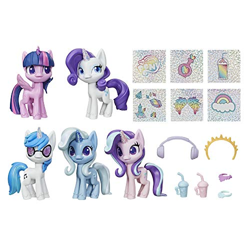 My Little Pony Unicorn Sparkle Collection Set of 5 Toy Pony 3-inch Figures with Glittery Unicorn Horns and 12 Surprise Accessories