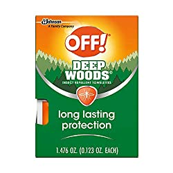 powerful Out!Deepwoods mosquito and bug wipes, resistant, 12 individually wrapped wipes