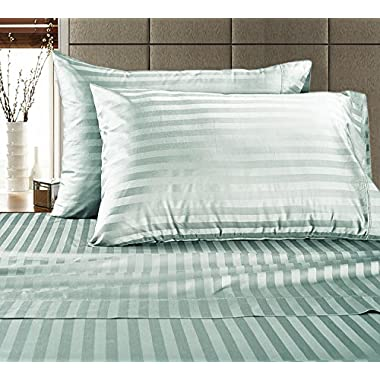 CHATEAU HOME COLLECTION Chateau Home Hotel Collection - Luxury 500 Thread Count 100% Egyptian Cotton Damask Stripe Deep Pocket Super Soft Sateen Weave Sheet Set, Mega Sale Lowest Prices, Queen-Sky