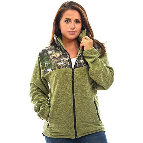 TrailCrest C-Max Polar-Fleecejacke für Damen, mit Reißverschluss und Camouflage-Muster -  Grün -  X-Klein