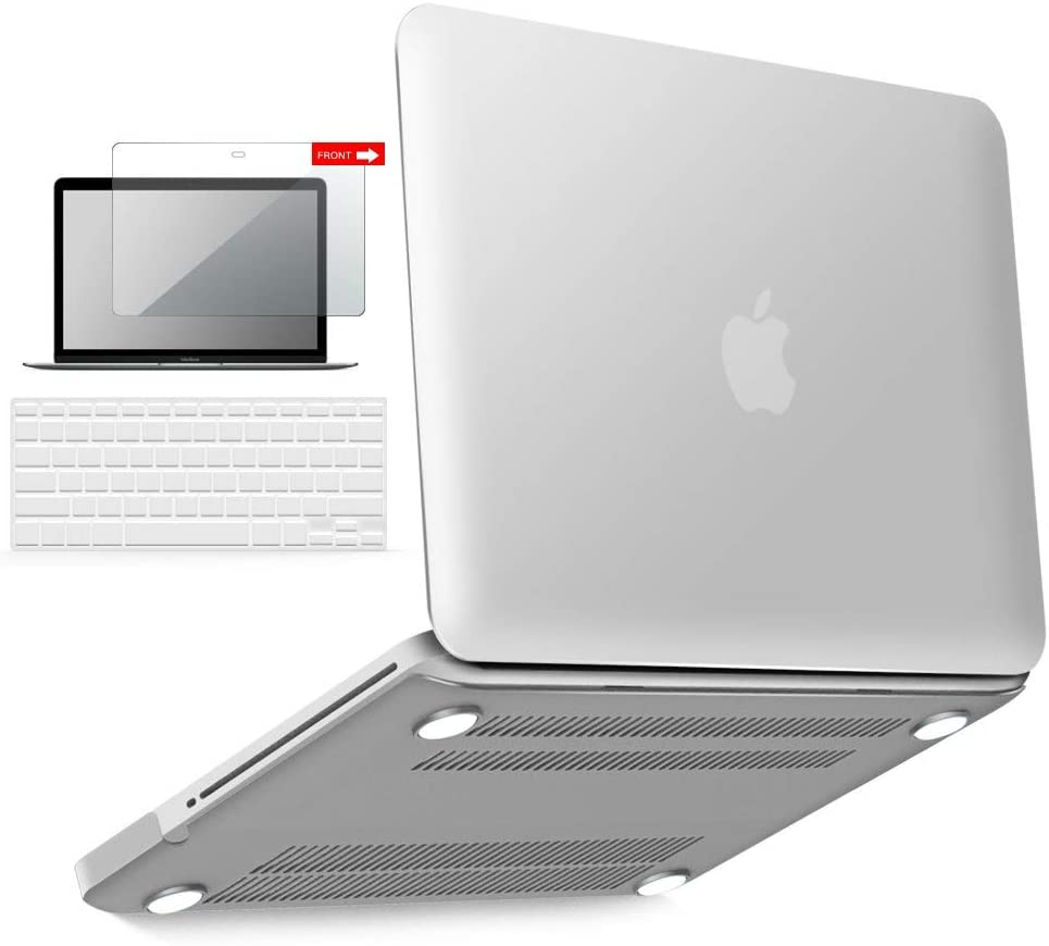 IBENZER MacBook Pro 13 Inch case A1278 Release 2012-2008, Plastic Hard Shell Case with Keyboard & Screen Cover for Apple Old Version Mac Pro 13 with CD-ROM, Clear, P13CL+2
