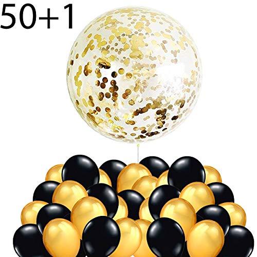 50 Gouden en Zwarte Ballonnen + 1 XXL Reuzengrote Transparante Latexballon met Metalen Confetti, Decoratie voor Nieuwjaar, Verjaardag en Afstudeerfeestje