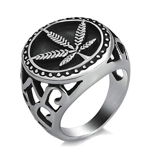 NA Stainless Steel Ring Weed Marijuana Cannabis Leaf Symbol Rings for Men Boys, Silver Black