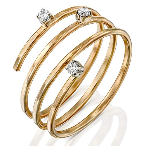 FABIN JEWELRY Handmade Adjustable Hammered Gold Filled Wire wrap Coil Ring with Cubic Zirconia, Simulated Diamond Thumb Ring, Pregnancy Ring, Weight Loss Wraparound Triple Band (10)