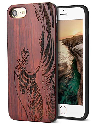 Compatible for Cool iPhone 7 Case, iPhone 8 Wood Case with Real Unique Wood Carving Wave Design with Silicone Dual layer Hybrid Protective Case for iPhone 7/ 8 iPhone SE 2020 4.7 Inch