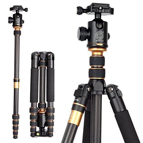OCDAY (Updated Version)Compact Travel Portable Carbon Fiber Camera Tripod Monopod with 360 Degree BallHead For Camera Canon Nikon Sony Sanmsung Olumpus SLR Cameras